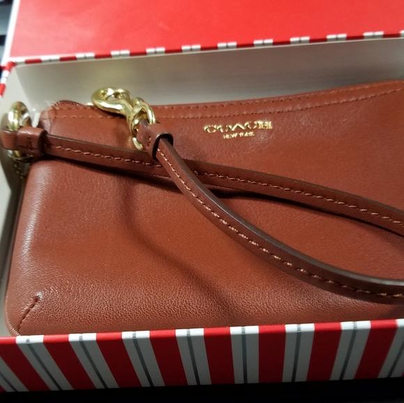 Coach Boxed Wristlet - Cognac color